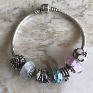 Pandora Bracelet with 5 Charms & 2 Clips + Box